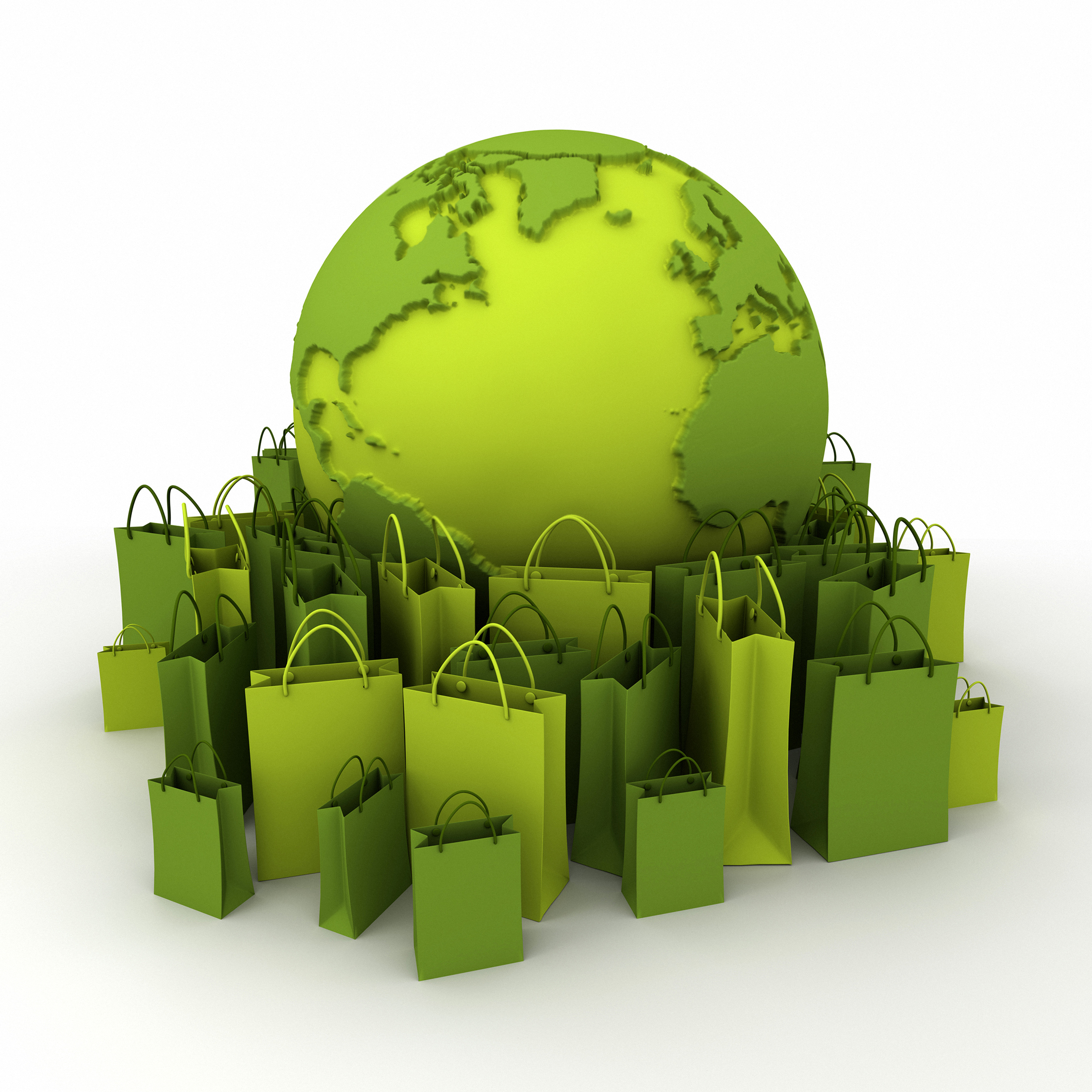 World globe surrounded by shopping bags in green shades.